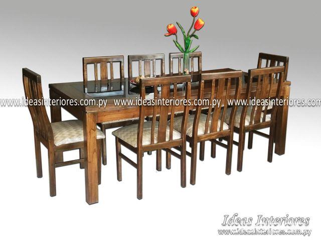 Juego de comedor con 8 sillas, mesa con tapa de vidrio - (Ideas ...