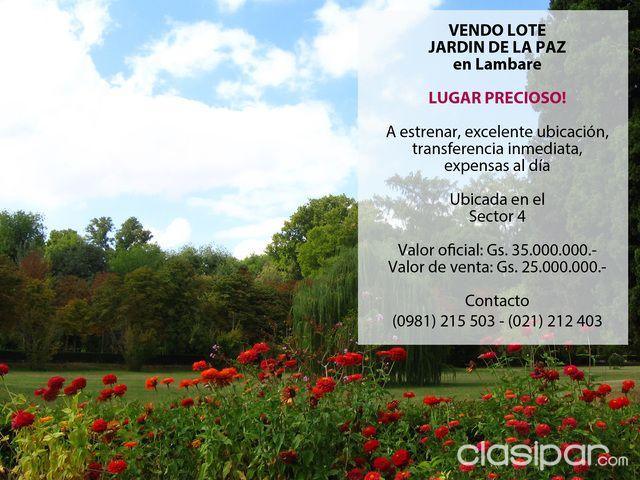 Vendo Lote En Jardín De La Paz (Lambaré) #827145 | Clasipar.com en ...