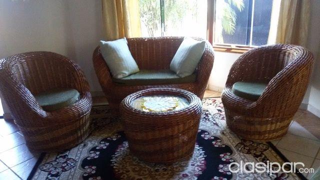 Juego de living mimbre con alfombra incluida #441590 | Clasipar.com ...