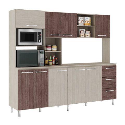 Kit De Cocina | Kit Cocina Larisa 8 Puertas 8010 Visao Aspen Ebano 19525 Clasipar