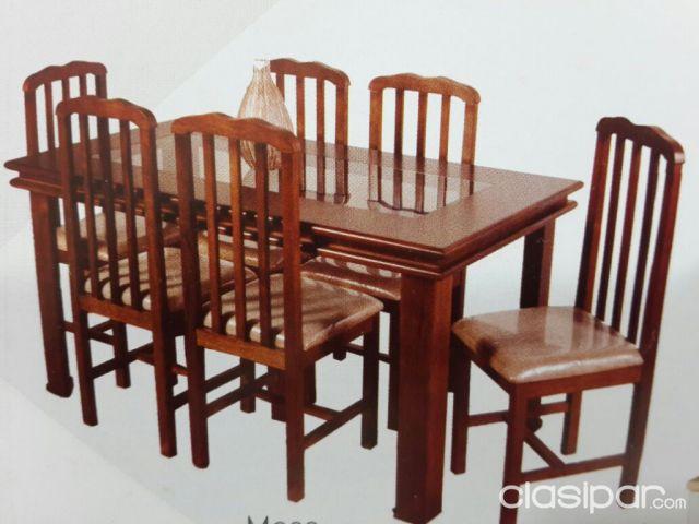 Juego Comedor, Mesa y Sillas madera y vidrio para 6 personas #977343 ...
