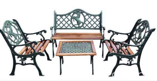 promo efectivo. juego de jardin en hierro y madera, diseño de ...