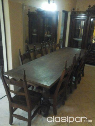 Juego de mesa de comedor antiguo de LAPACHO CON TALLADO A MANO, 10 ...