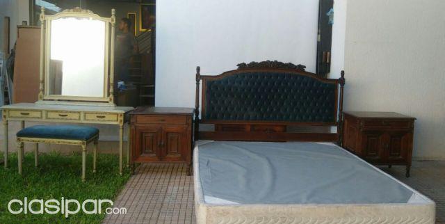 Juego de dormitorio (base somier, cabecera, 2 mesitas de luz ...