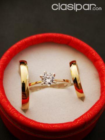 34eea1dd9882 Relojes - Joyas - Accesorios - Anillo de compromiso con anillos de alianza  en PLATA bañada