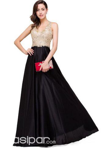 Vestido color negro con dorado