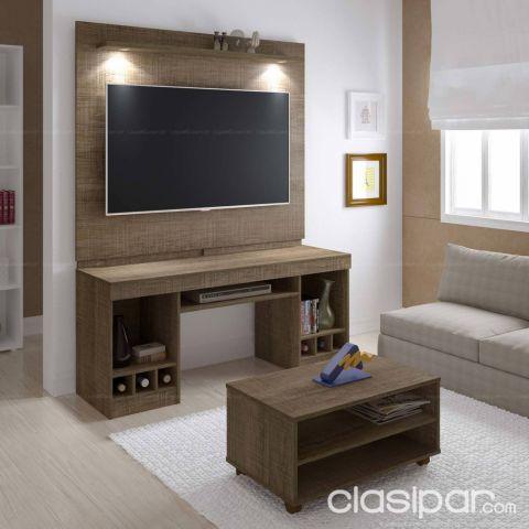 Mueble para sala 3 en 1 panel con rack y mesa centro para for Muebles para sala de tv