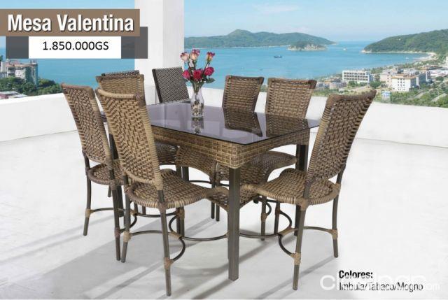 juego de comedor valentina con 6 sillas estilo ratan mimbre ...