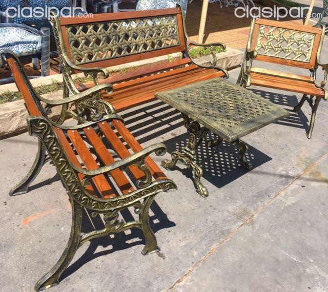Mueble Juego de Jardin de hierro Forjado y madera indestructible ...