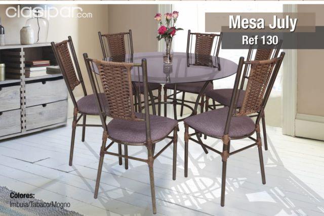 Juego Comedor Mesa de vidrio redonda + 6 sillas .JULY. #976160 ...