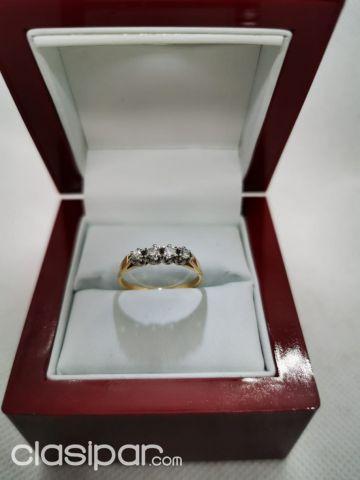 d2a4bb23b9bc Anillo de compromiso con anillos de alianza en PLATA bañada en ORO ...